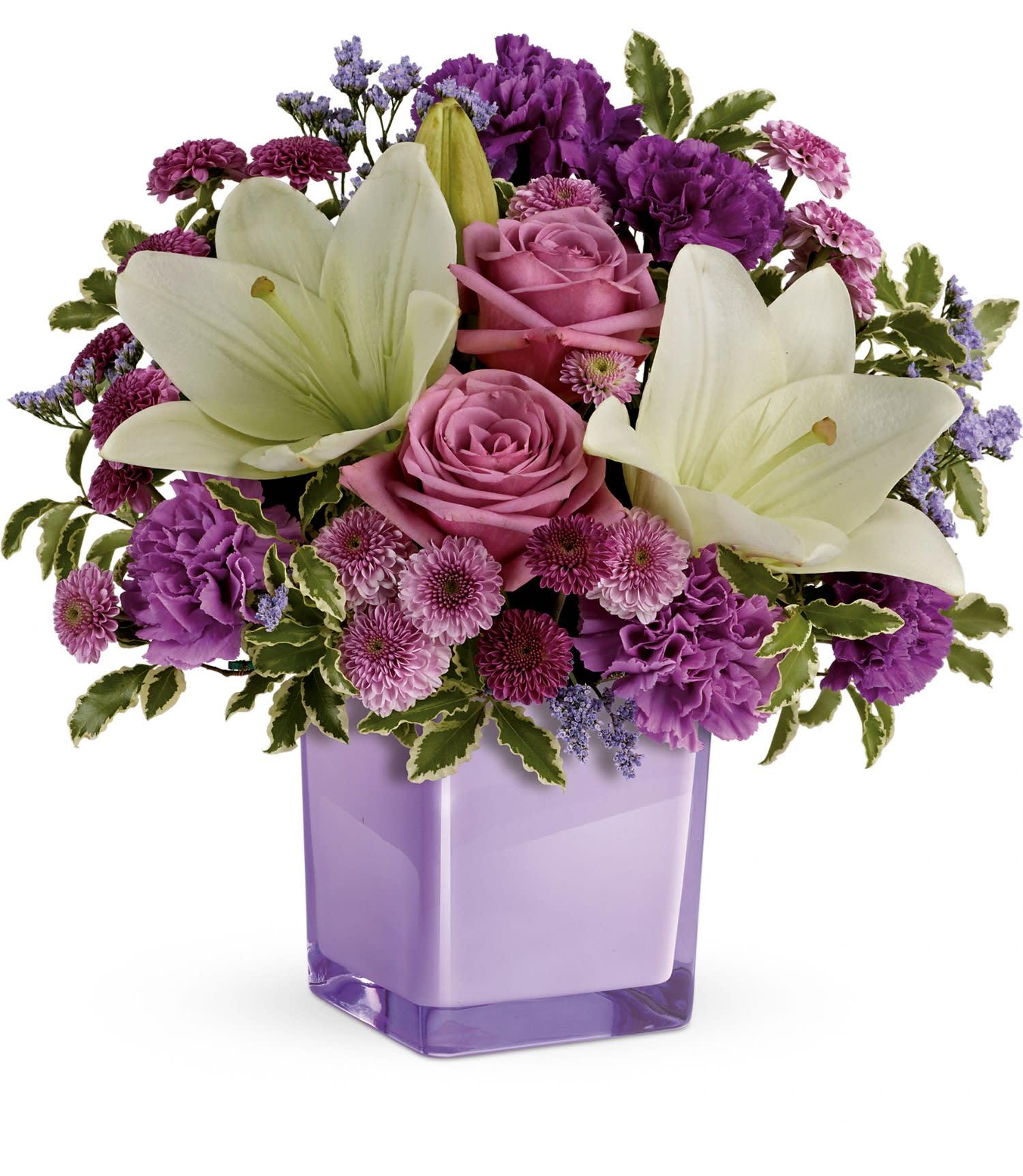 Teleflora S Pleasing Purple Bouquet In Bergenfield Nj