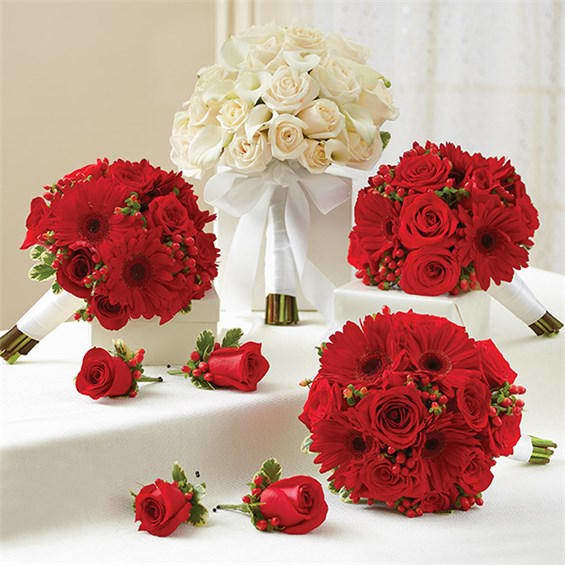 Wedding Bouquets Without Flowers: 1-800-Flowers® Red And White Personal Package (1 White