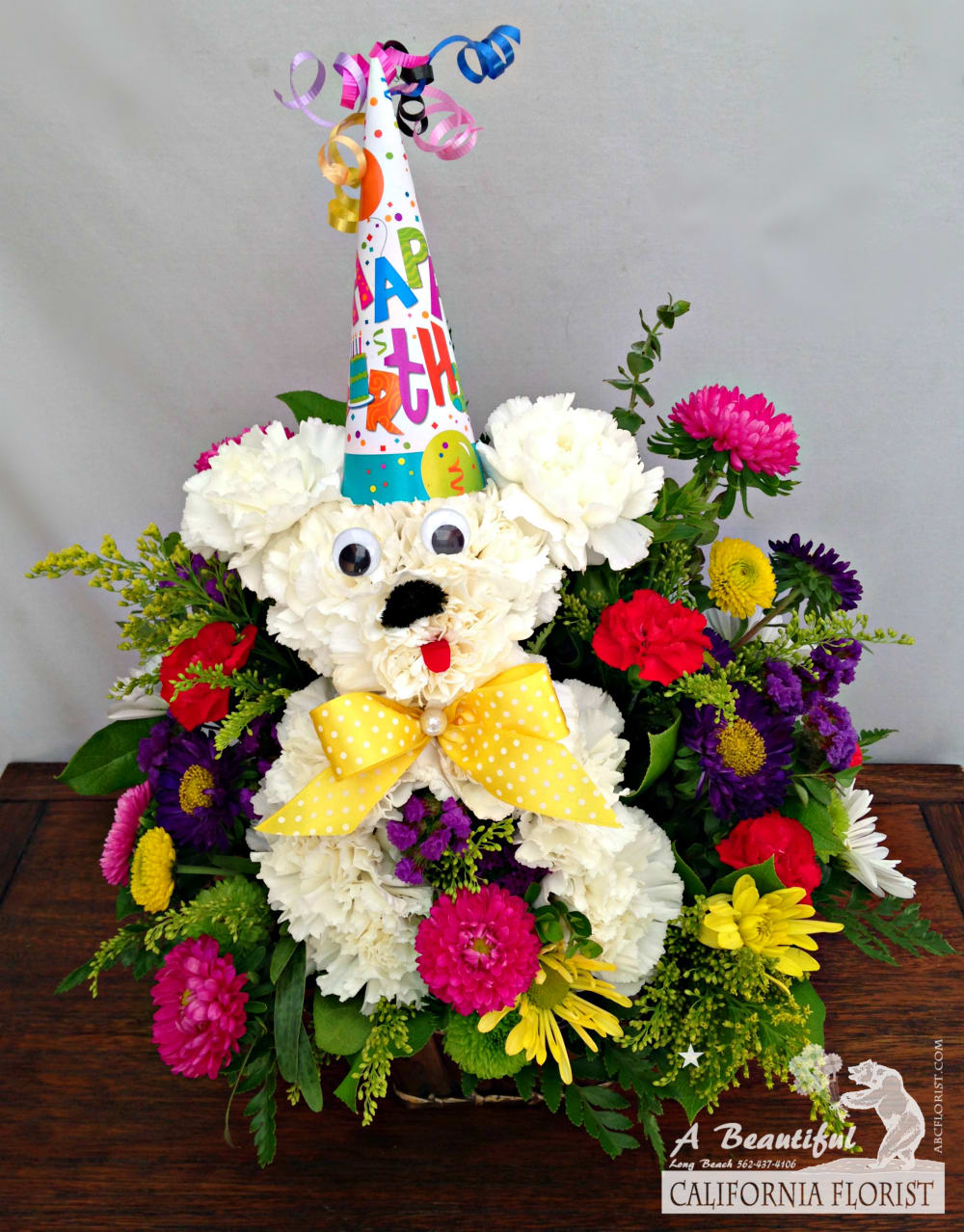 Woof woof Happy Birthday! - Birthday Flower Arrangements from ABC Florist  Long Beach in Long Beach, CA | A Beautiful California Florist