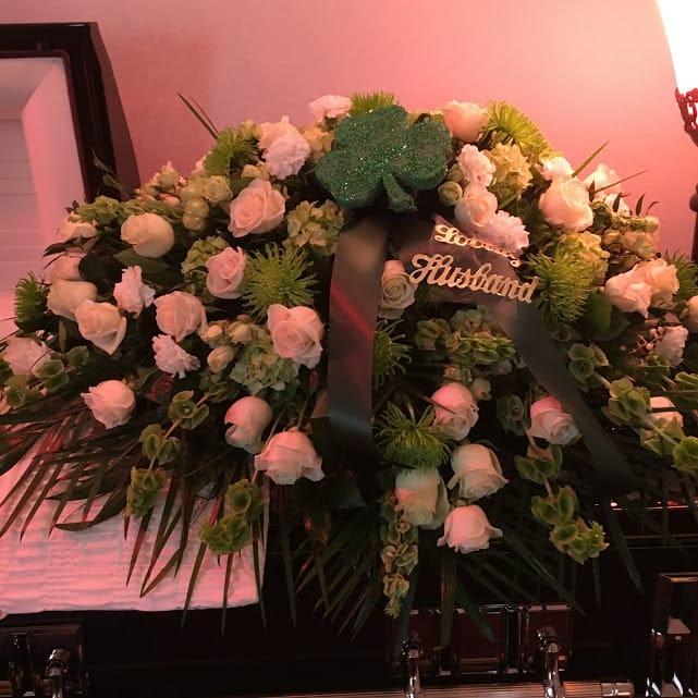 Irish Wedding Gifts From Ireland: Irish Inspired Casket Cover With Shamrock In New Milford