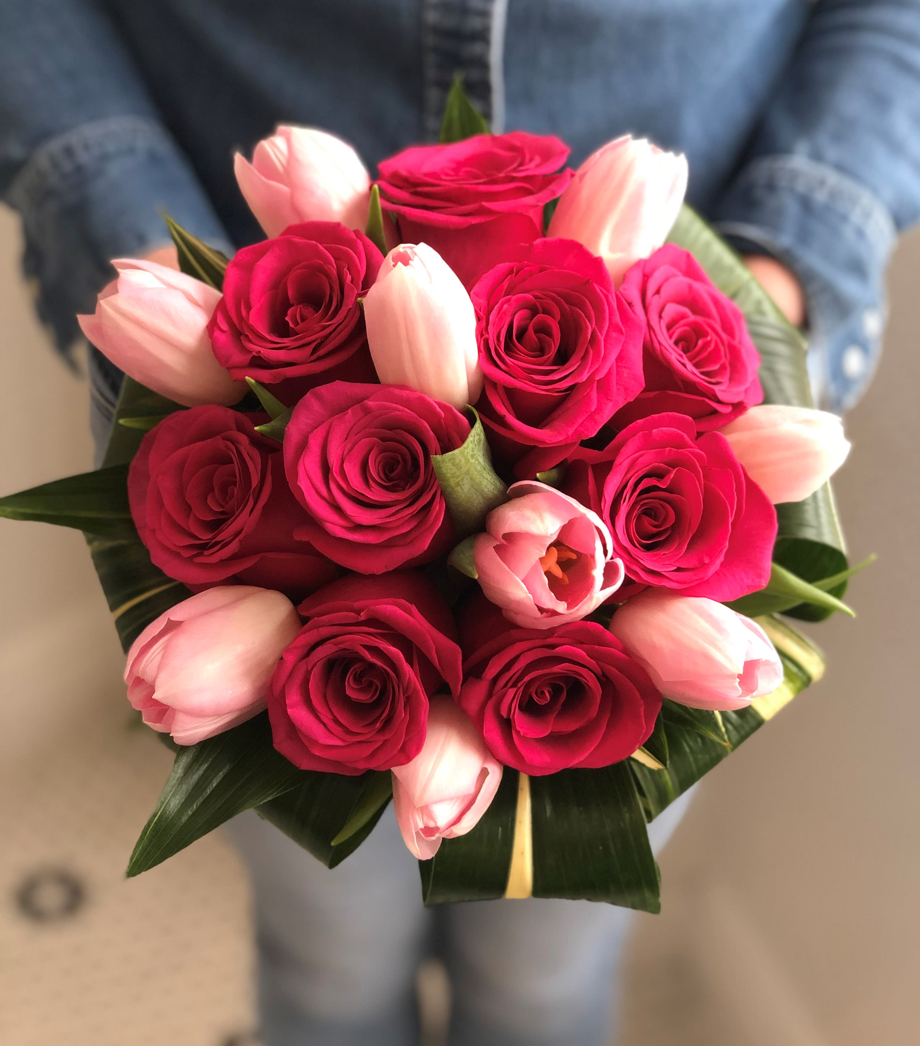 Image result for Pink Roses & Tulip