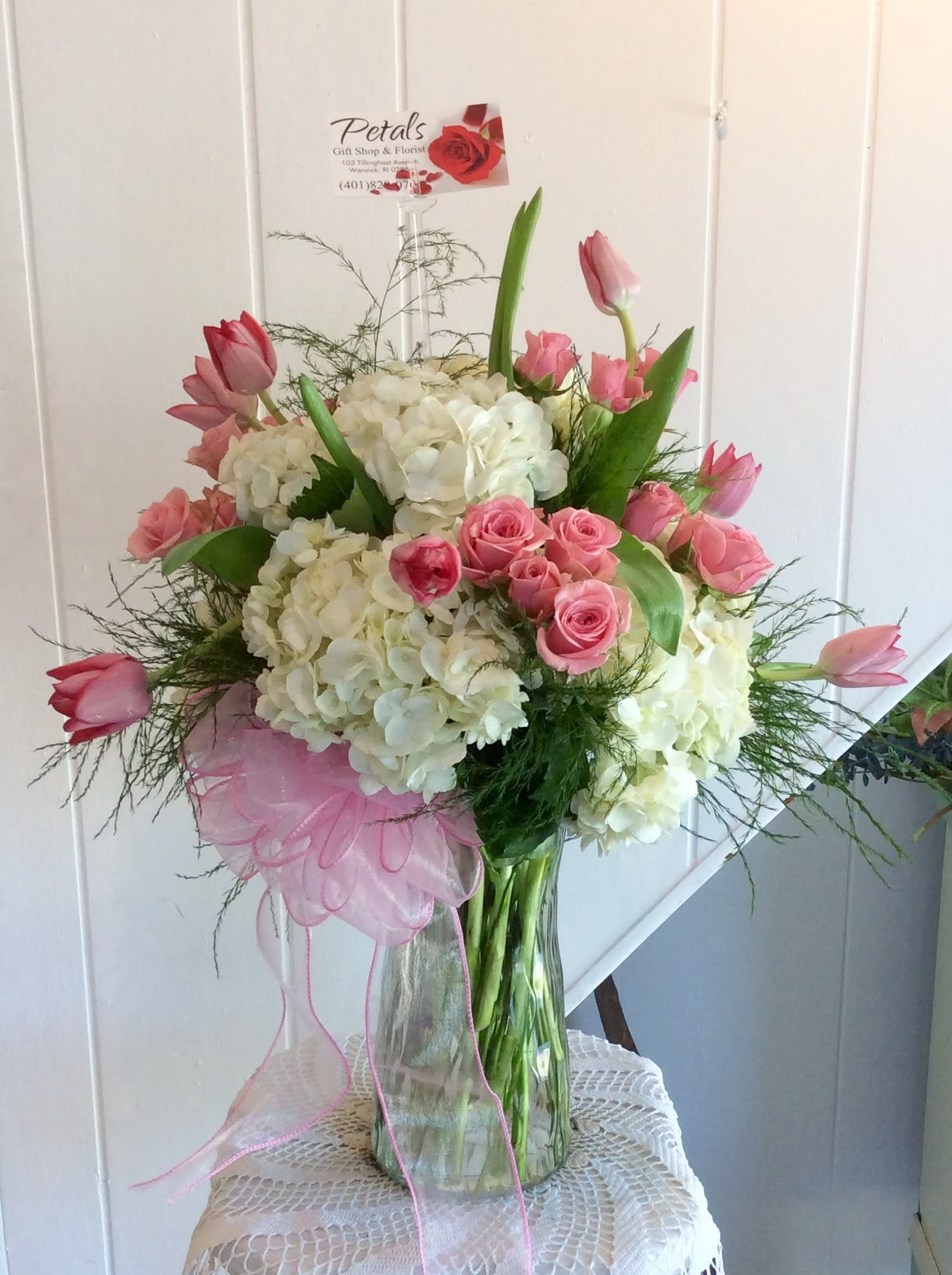 Pretty As A Picture Pink Spray Roses And White Hydrangeas In
