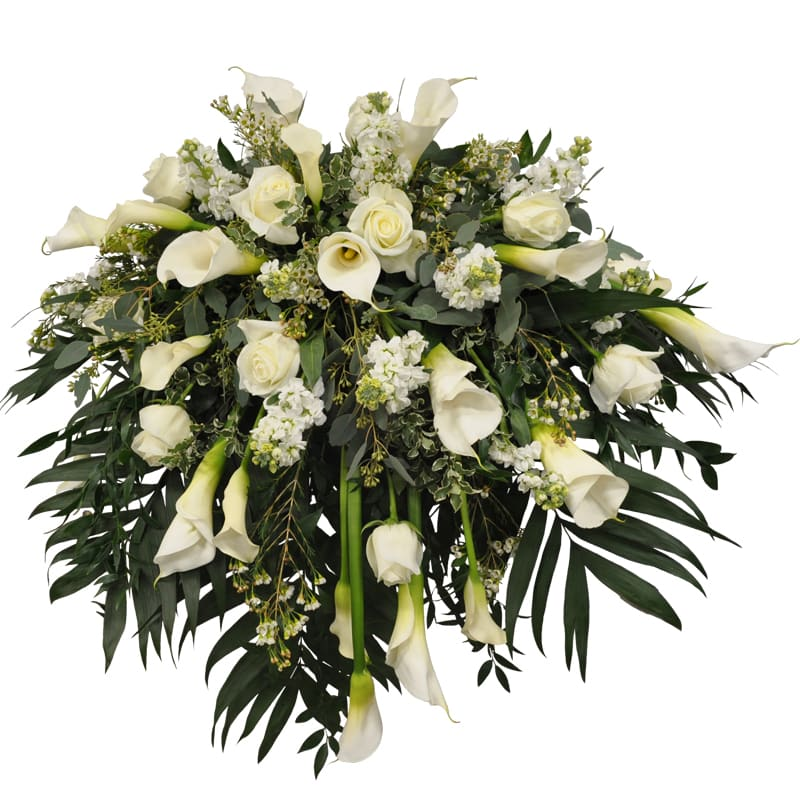 K636 White Mix Casket Spray White Calla Lilies Large And Small