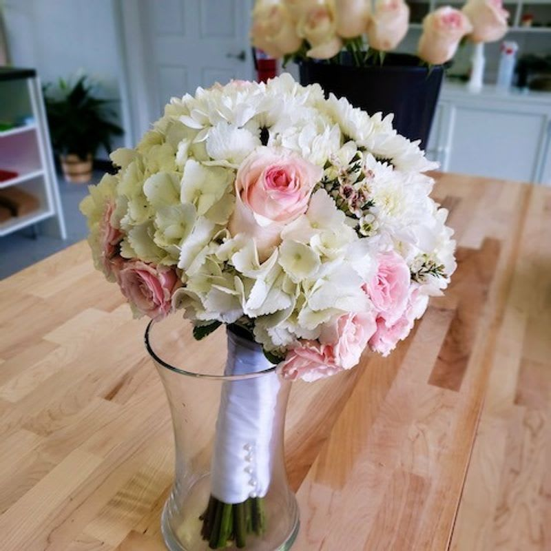 Wedding Bouquet White Hydrangea And Pink Roses By Southern Coast