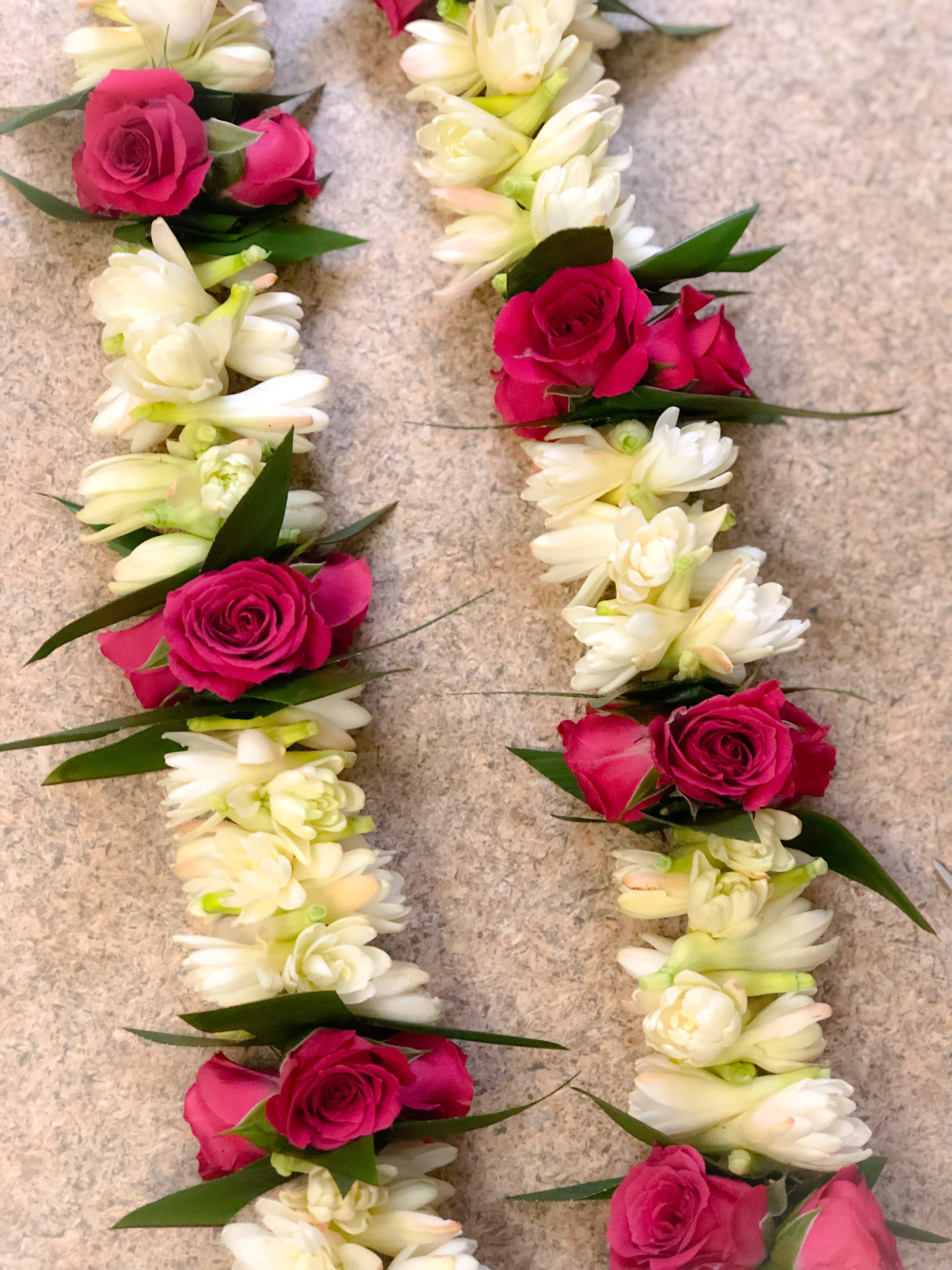 Double Tuberose lei with Ti Leaf and Spray Roses in Torrance, CA