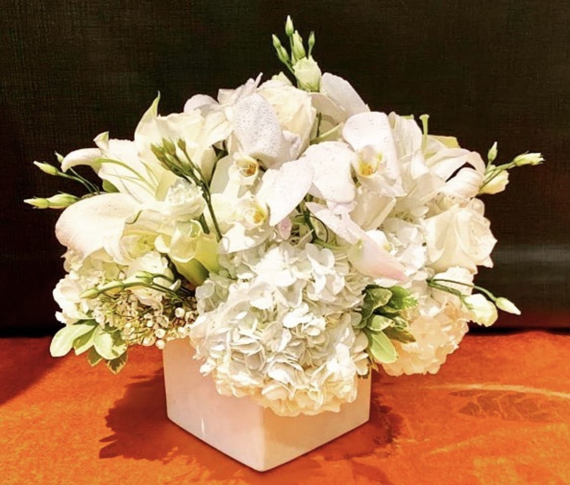 Custom Arrangement Of White Hydrangea White Calla Lilies