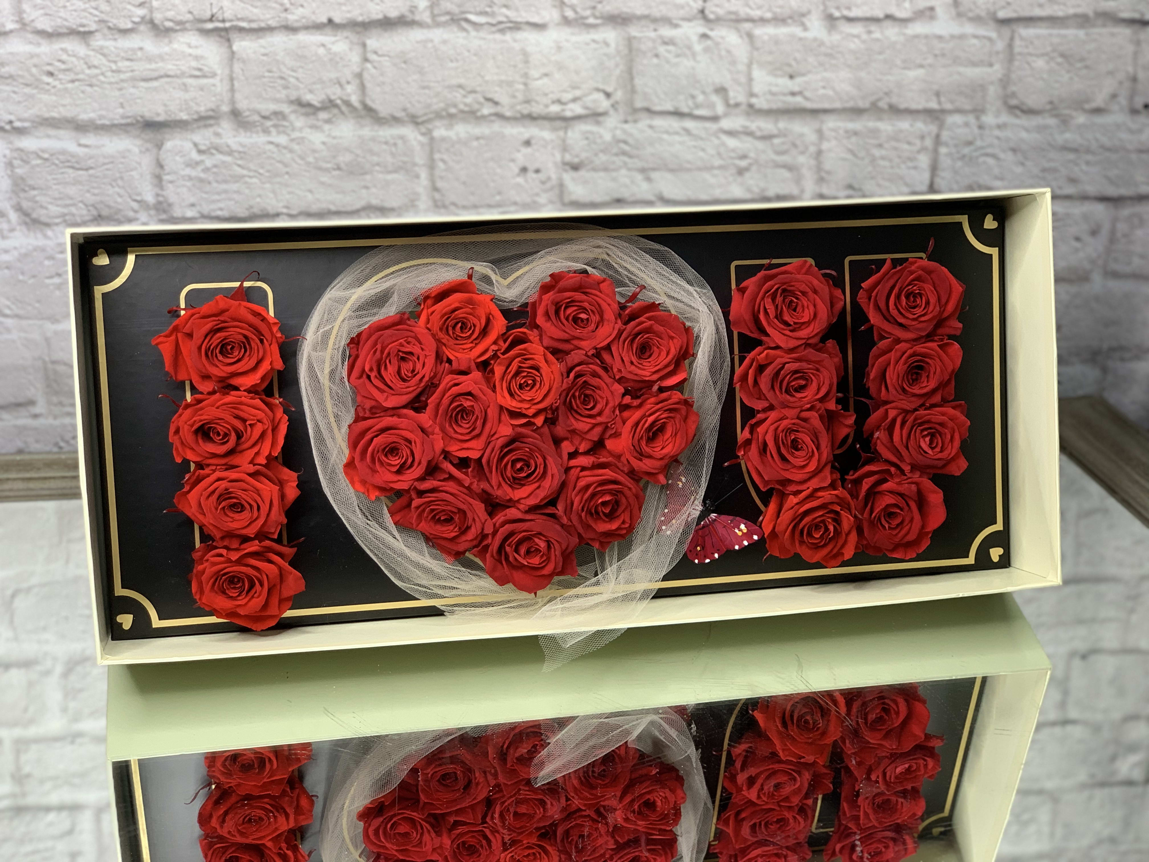 Preserved I Love You Red Rose Box Lasting 1 Year in North Miami, FL   Fleur Flower Boutique
