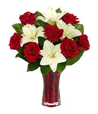 Classic Red Rose White Lily Bouquet By J J Flowers Designs Events