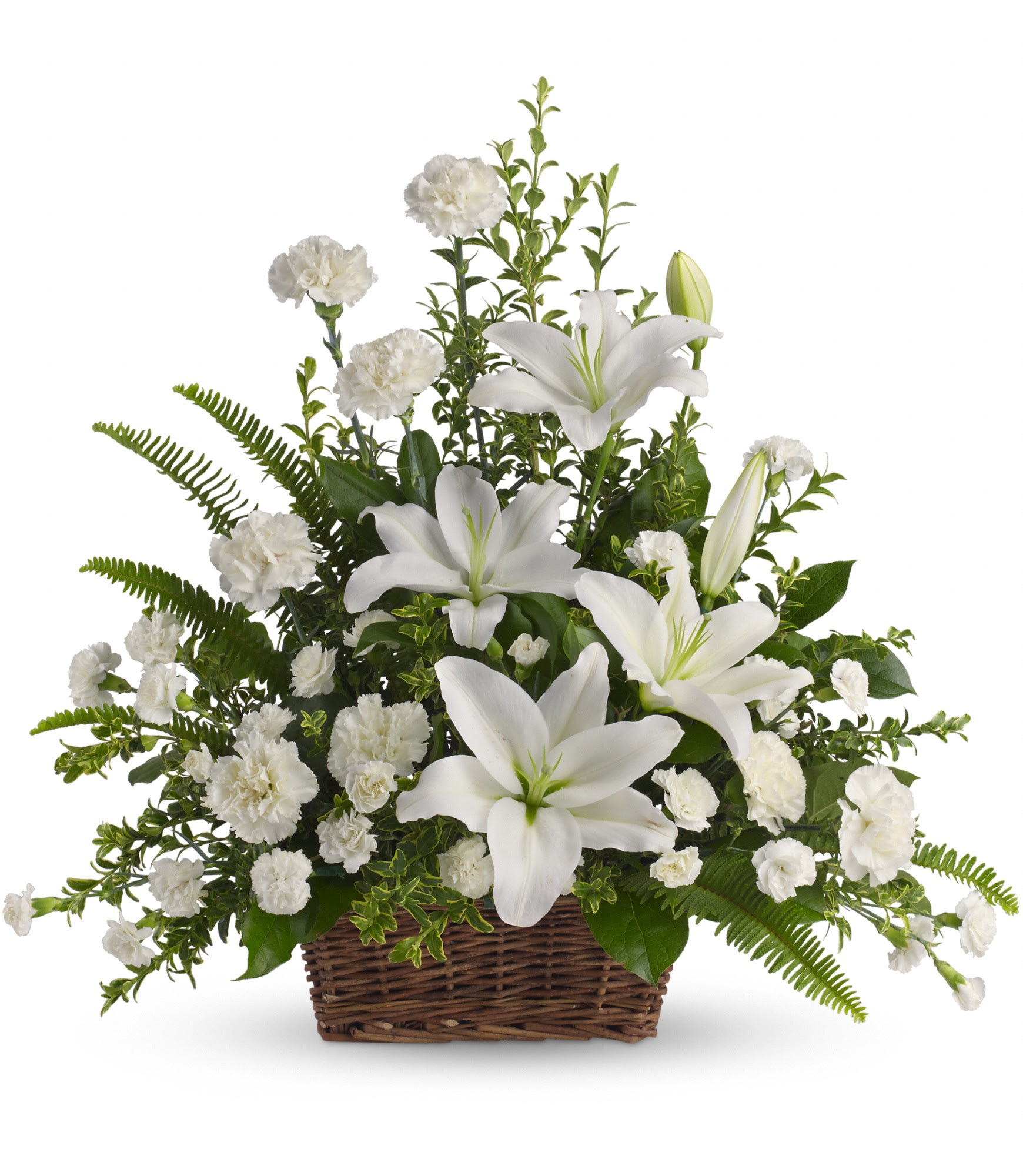 Peaceful White Lilies Basket By Teleflora In Huntington Ny Funky