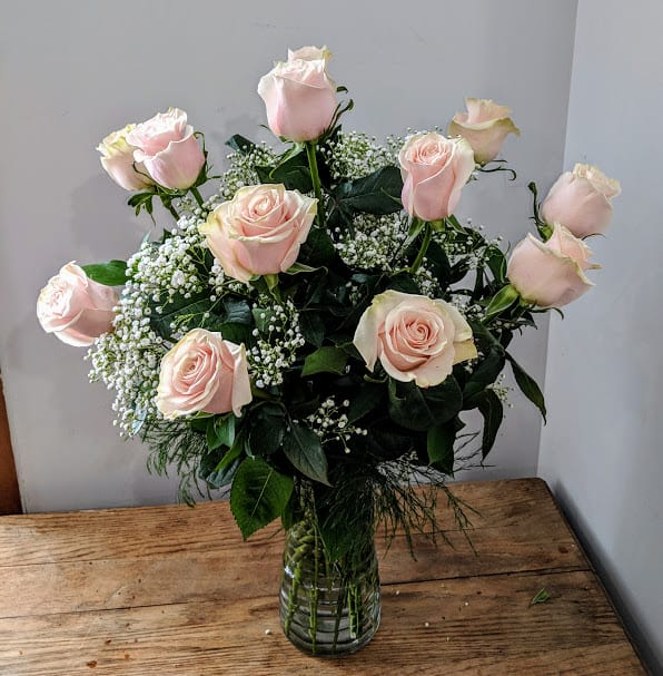A Dozen Pink Roses In Londonderry, NH