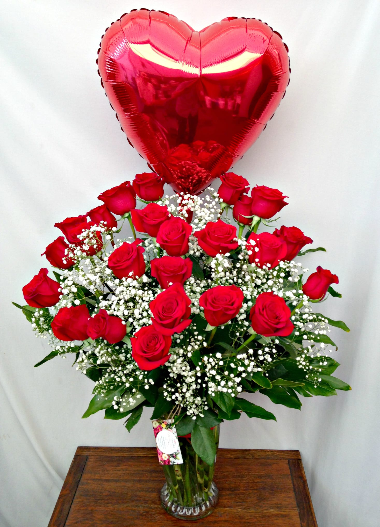 Two Dozen Premium Red Roses With Lush Accents With Red Heart