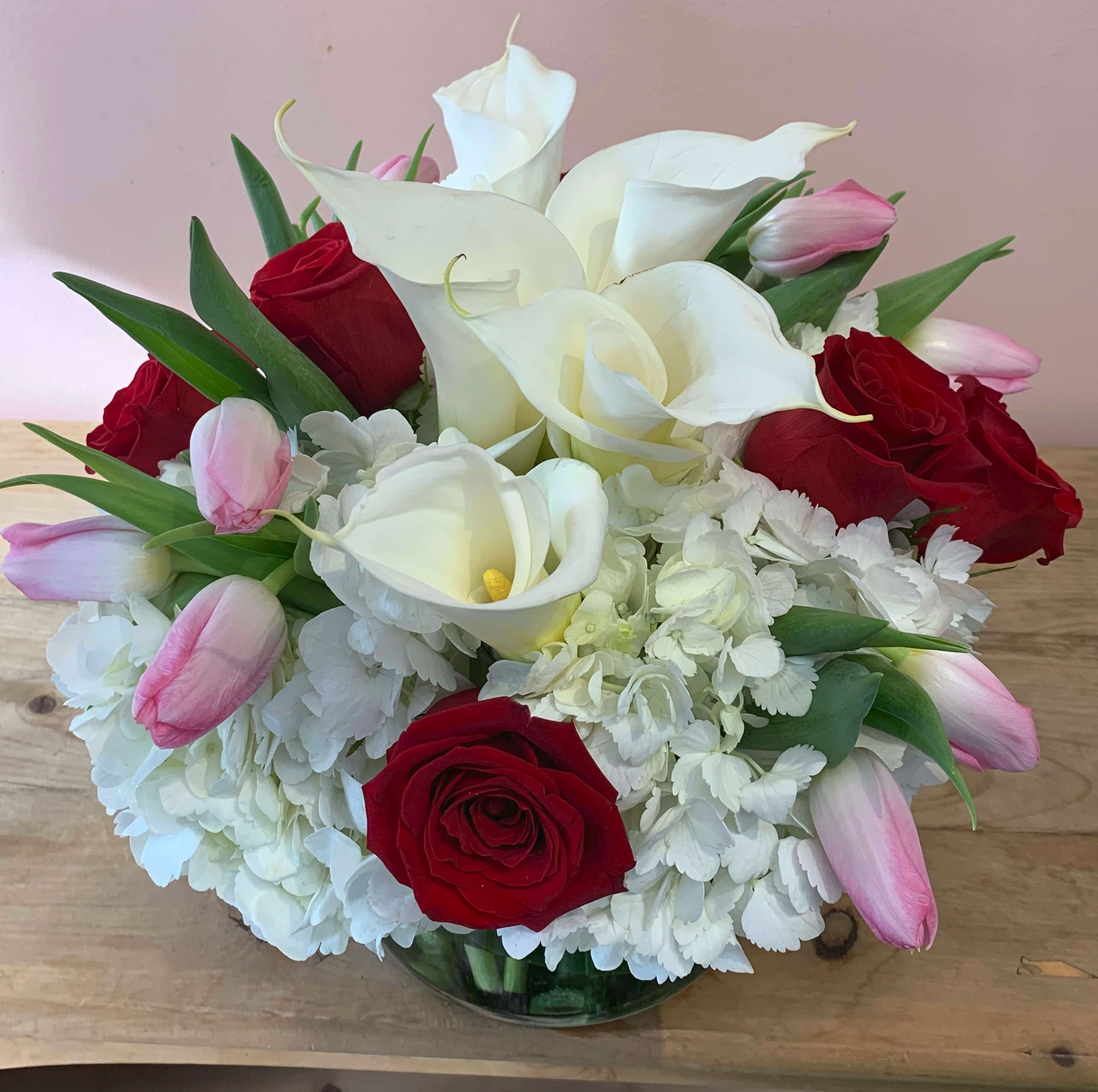 Red Roses Pink Tulips And White Calla Lilies Hydrangea W500 By