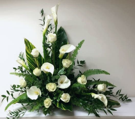 White Calla Lilies And Roses Modern Sympathy Arrangement In