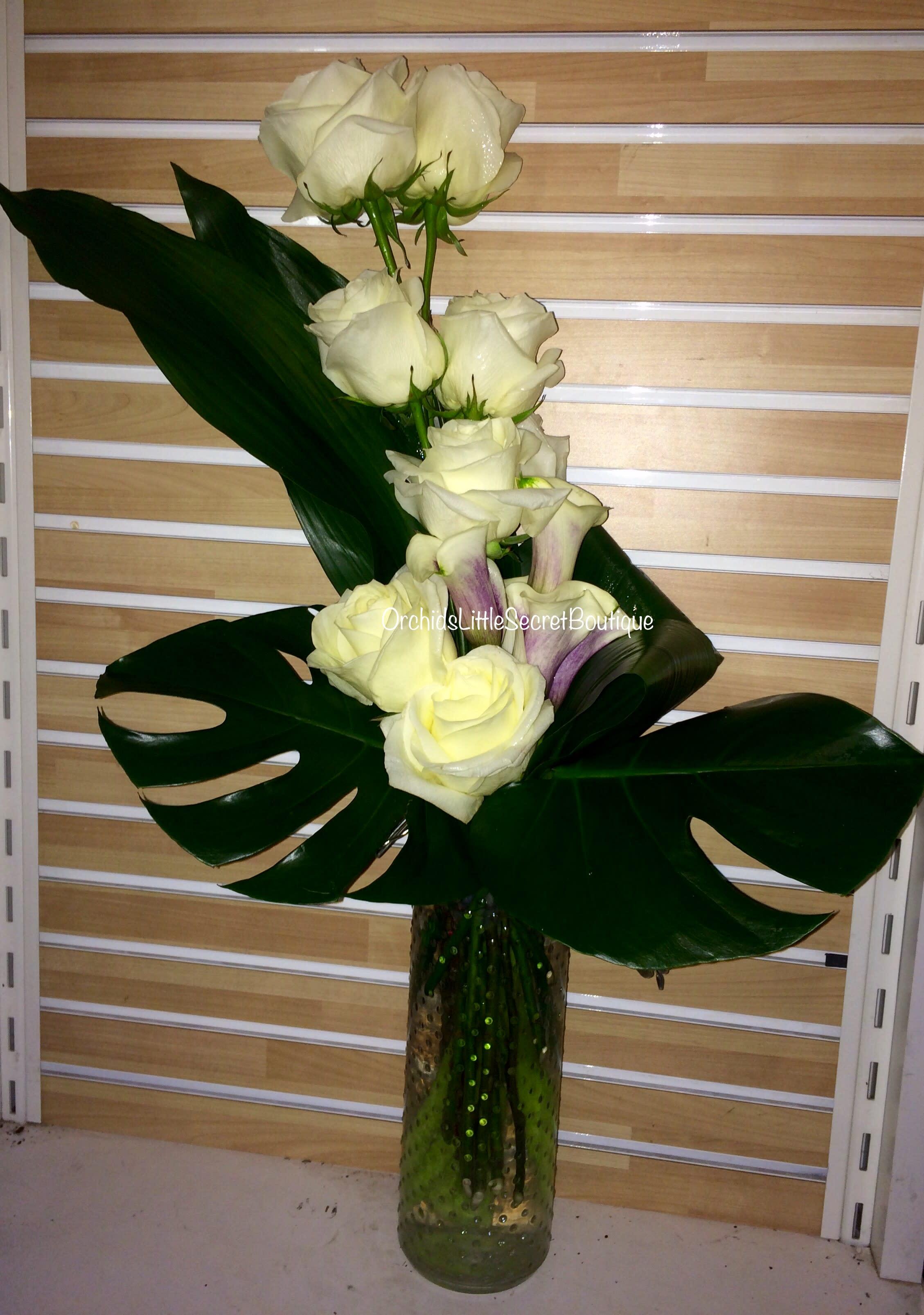 Encouragement White Rose Mini Calla Lily Bulb Picasso In