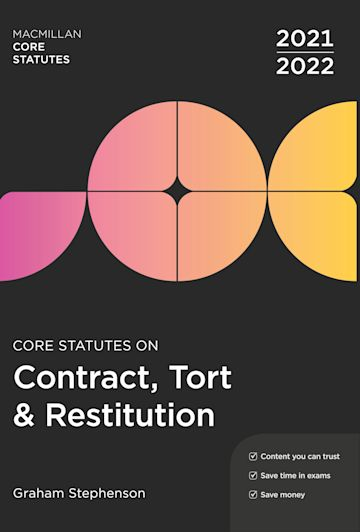 Core Statutes on Contract, Tort & Restitution 2021-22 cover