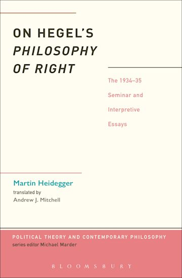 On Hegel's Philosophy of Right cover