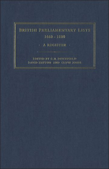 British Parliamentary Lists, 1660-1880 cover