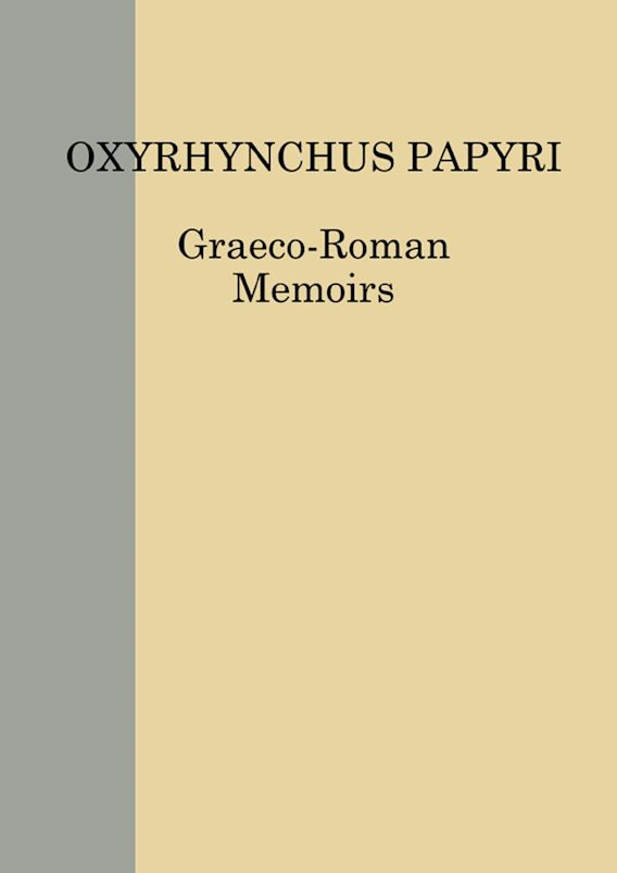 The Oxyrhynchus Papyri Vol. LXXXIV cover