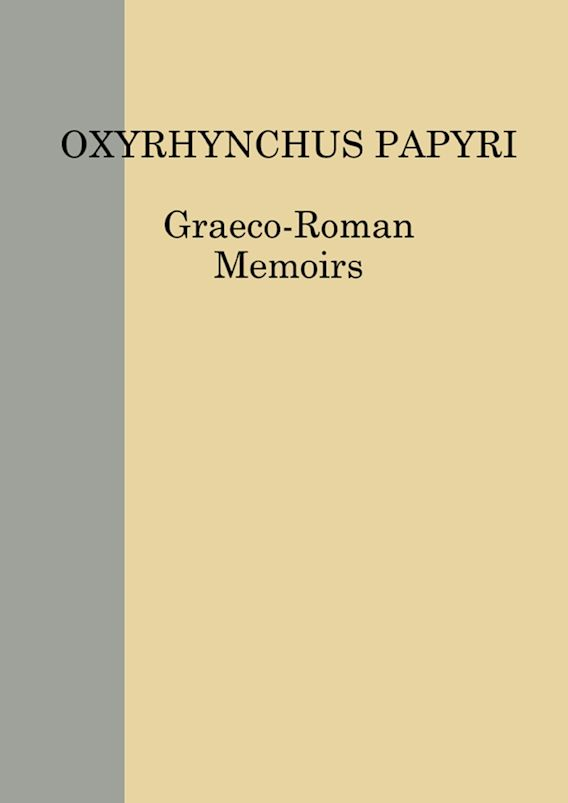 The Oxyrhynchus Papyri vol. LXXXV cover