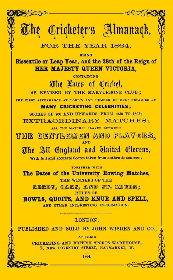 Wisden Cricketers' Almanack 1864 cover