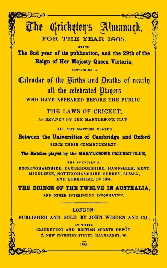 Wisden Cricketers' Almanack 1865 cover