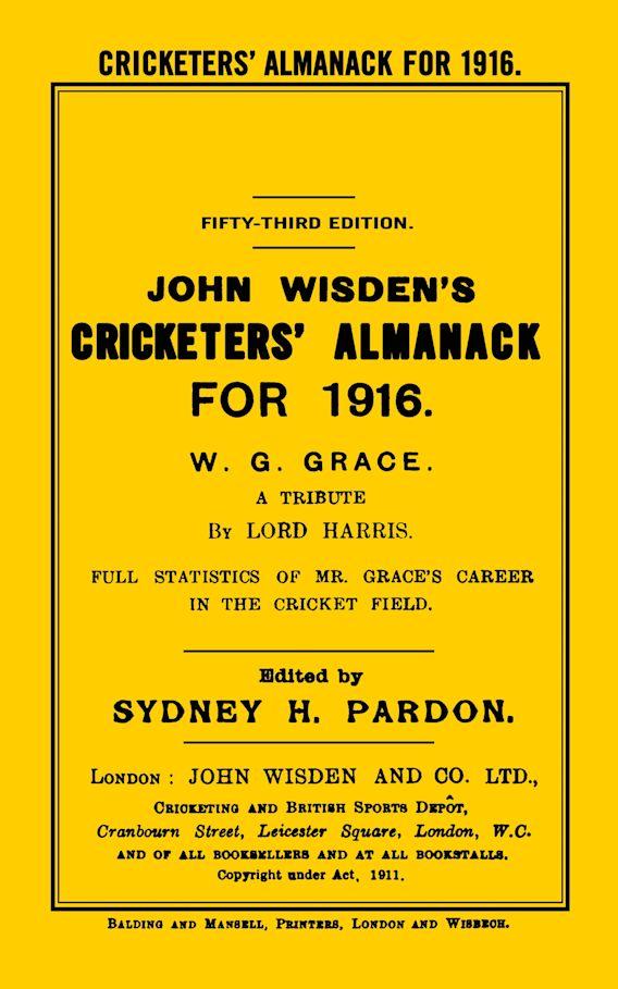 Wisden Cricketers' Almanack 1916 cover