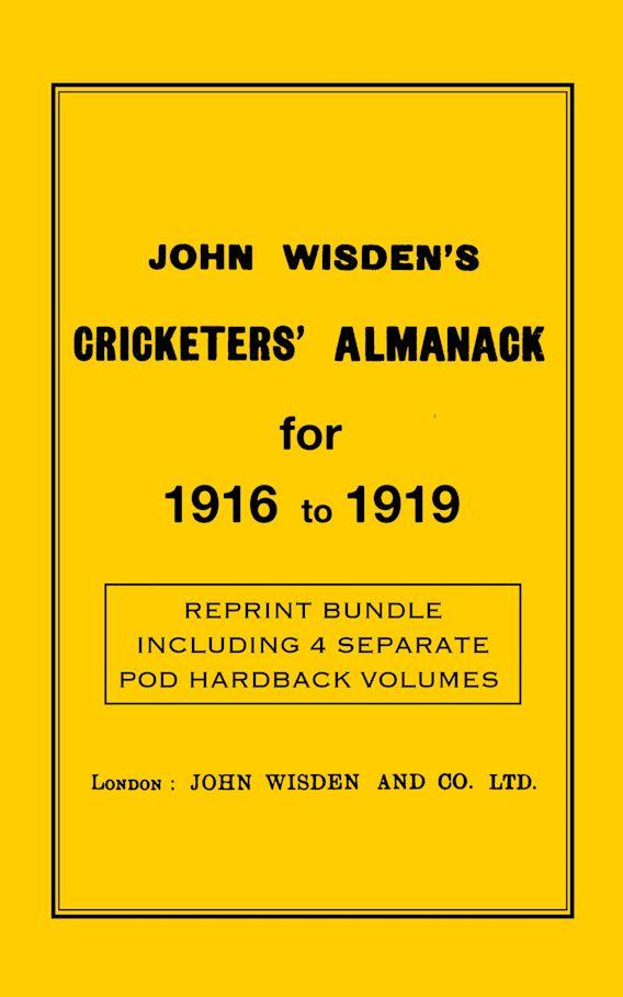 Wisden Cricketers' Almanack 1916 to 1919 cover