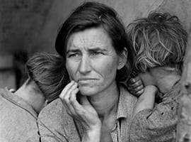 Migrant Mother by Dorothea Lange. Photograph depicts a woman with two children.