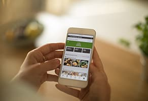 Person using meal delivery service through mobile app
