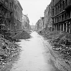 This image shows a bombarded Berlin street.