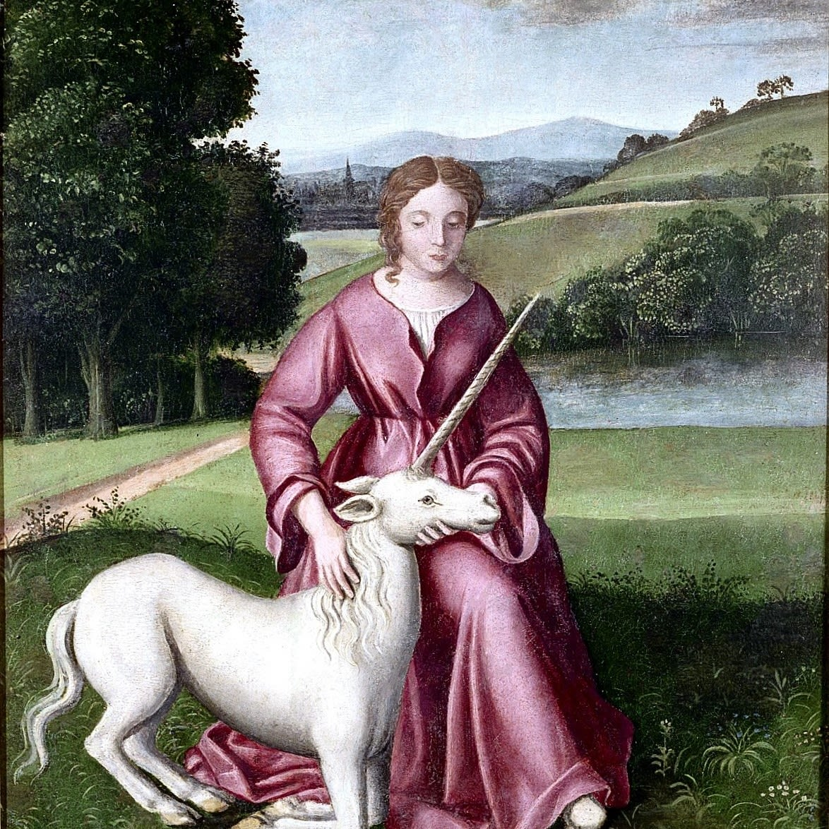 This image shows chastity represented by a virgin and a unicorn.