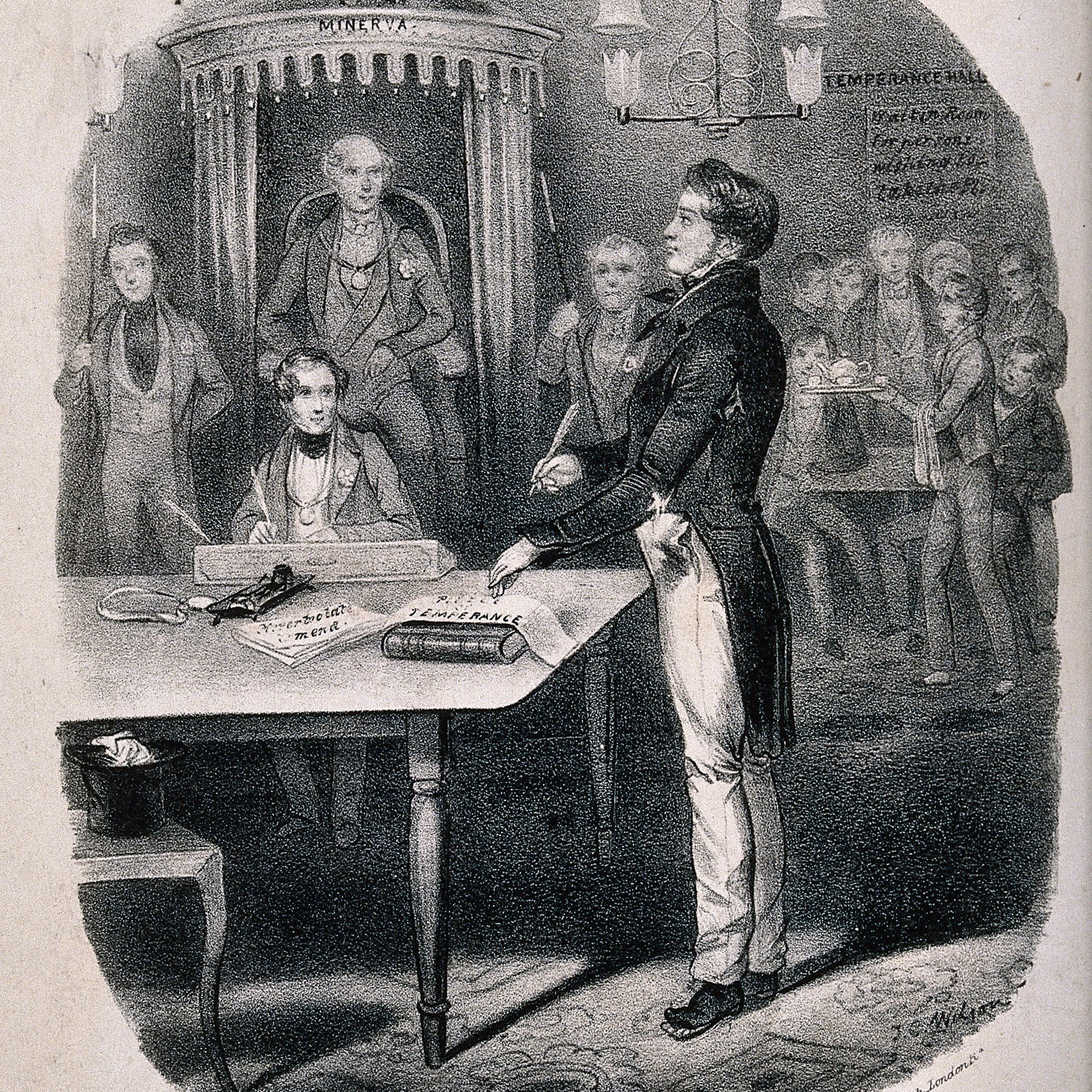 This image shows a man standing in a law court vowing to reform to temperance.