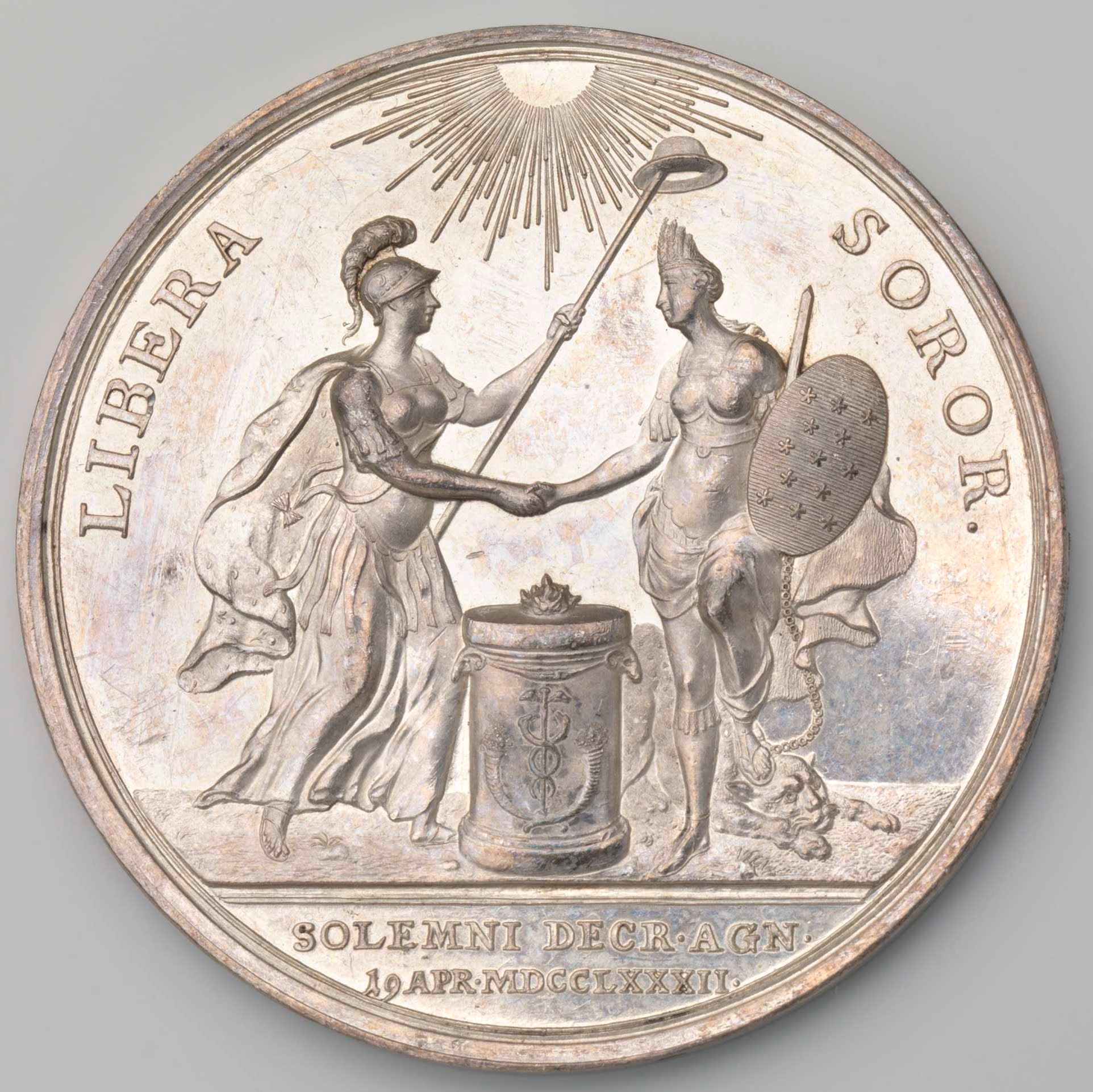 A silver commemorative token in recognition of the independence of the United States of America by the States General of the Netherlands.