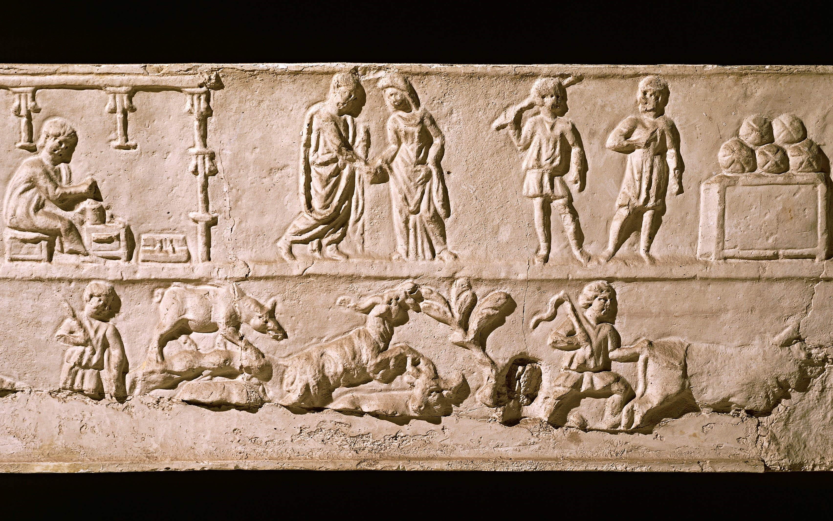 CIRCA 2002: Relief from a sarcophagus depicting scenes of everyday life. Roman Civilisation, 2nd Century. Rome, Museo Della Civiltà Romana.