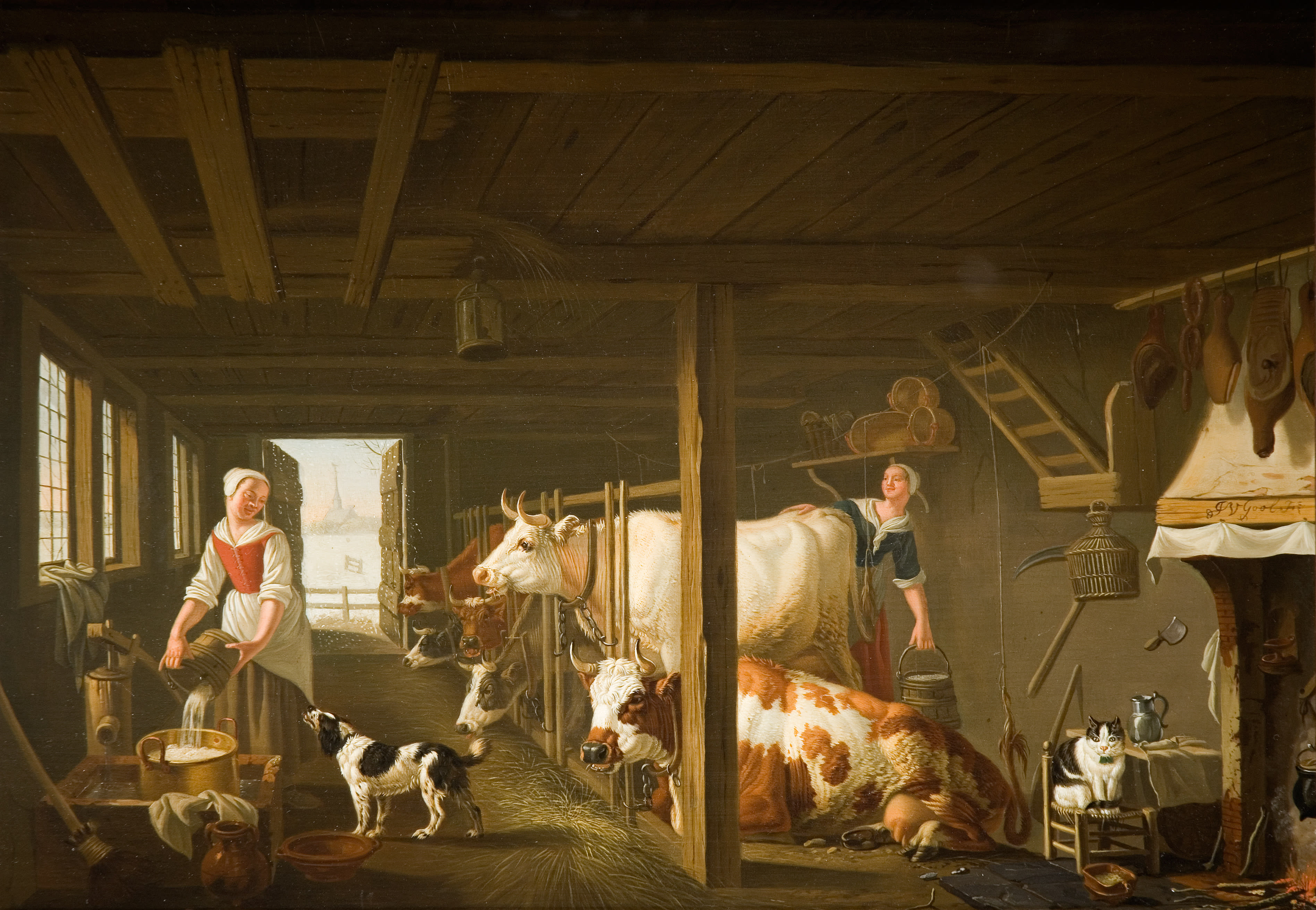 Oil painting of two women milking cows in a barn, In the centre stands a white cow.