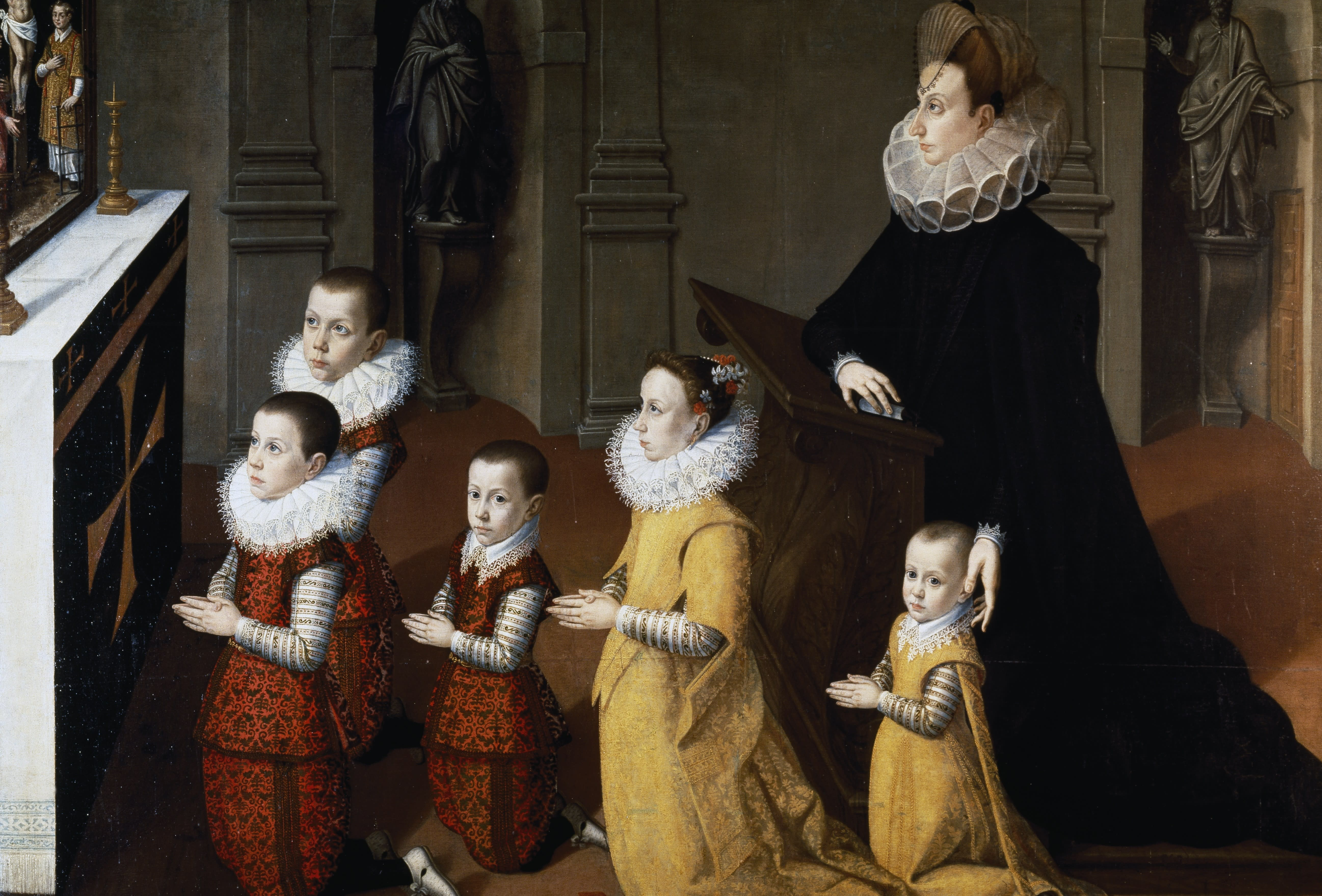 Portrait of Chiara Albini Petrozzani with their children in prayer. Painting attributed to Pietro Facchetti (1535 or 1539-1619).