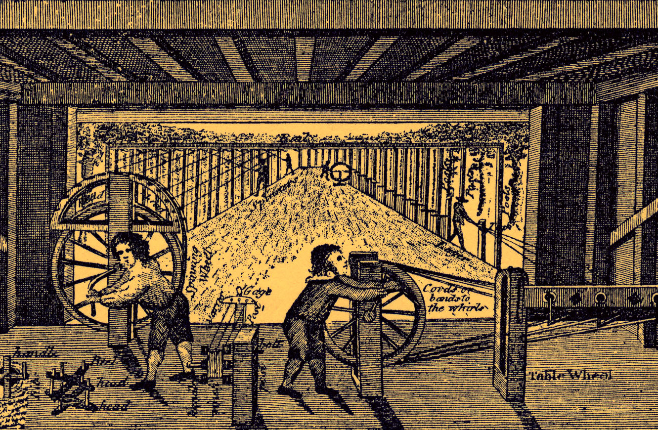 Picture showing children working in a rope factory - from 18th century engraving.