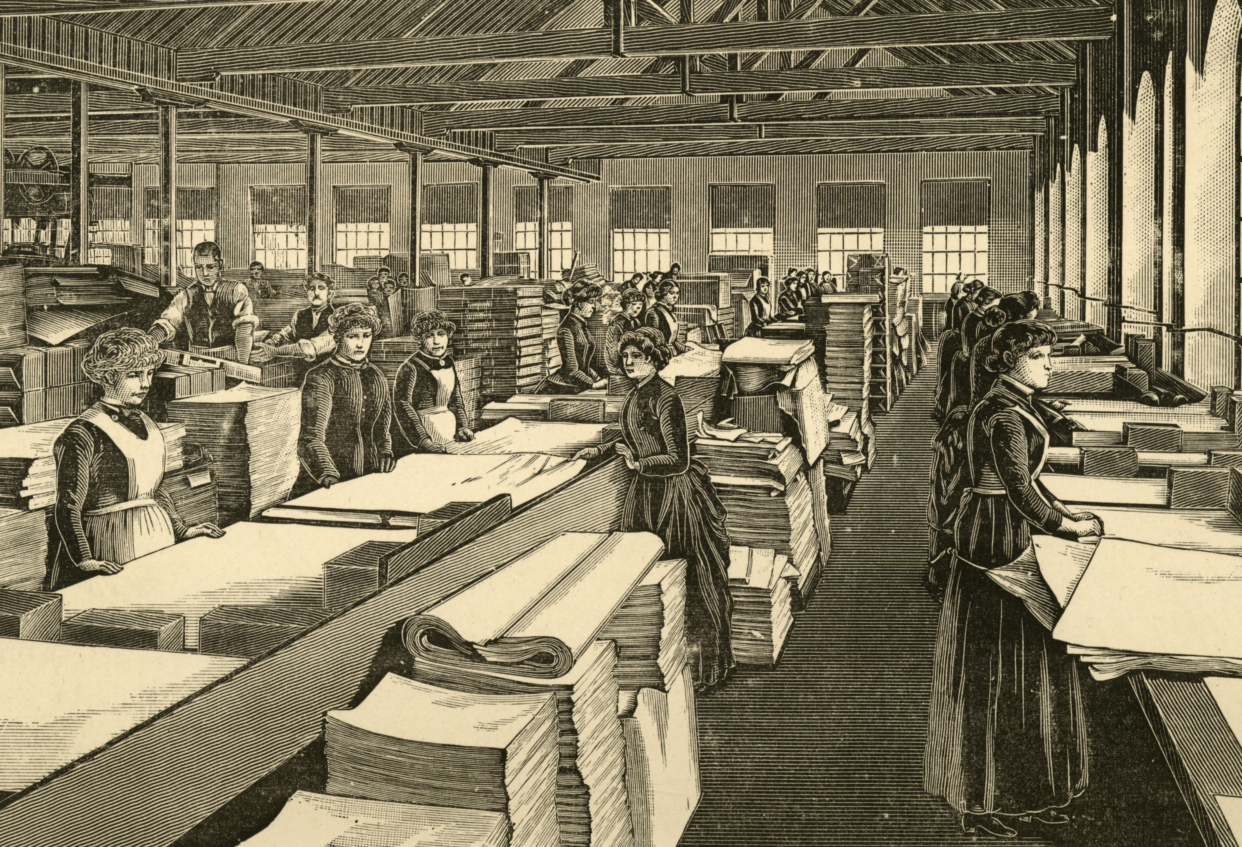Engraving showing women inspecting newly made paper before dispatch.