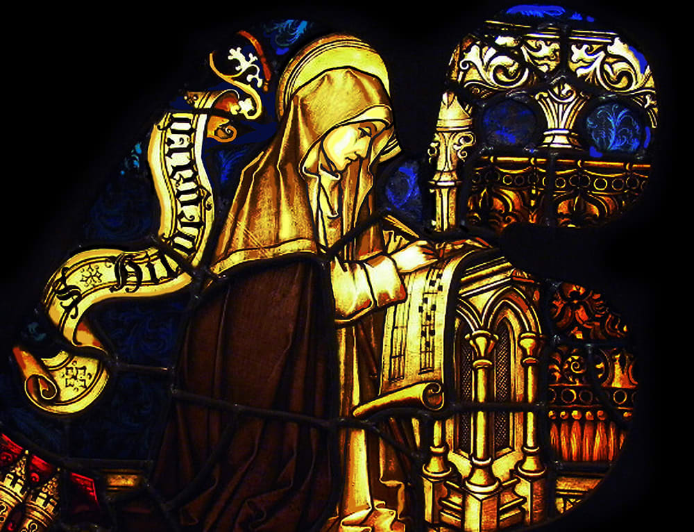 This image shows Hildegard of Bingen. Found in the collection of the Eibingen Abbey.
