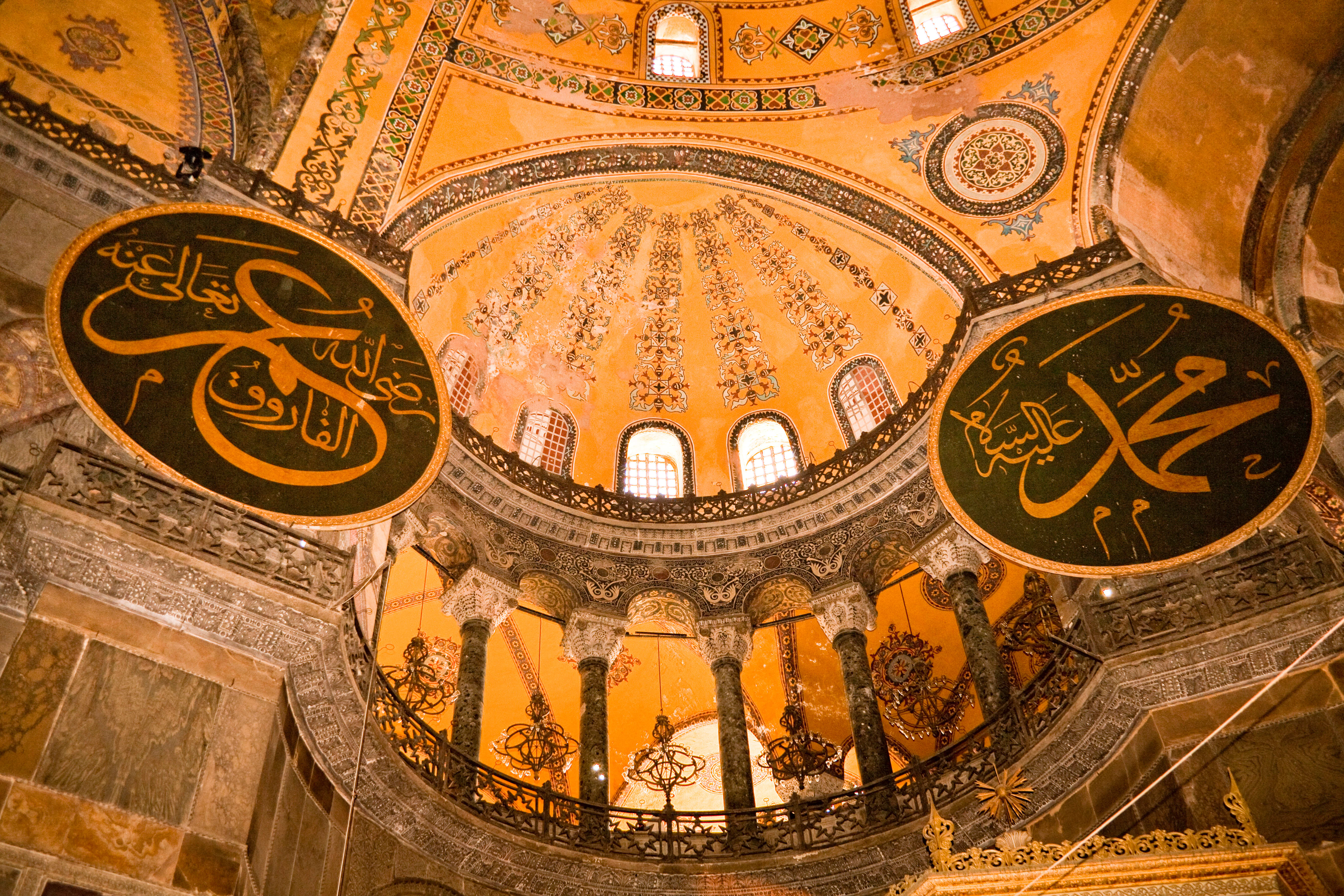 Picture of the ceiling and balcony inside Haghia Sophia Mosque, Turkey, Istanbul