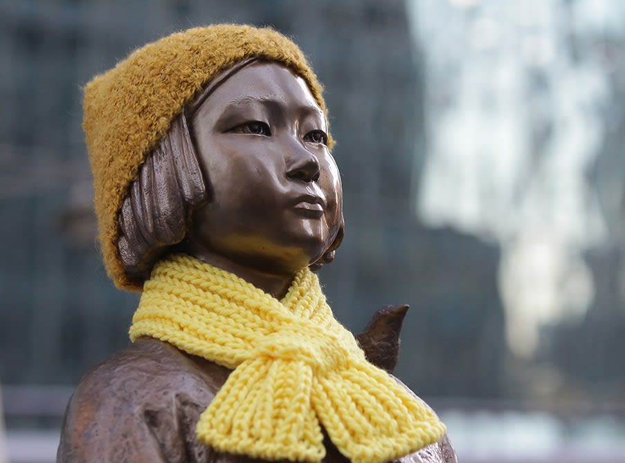 A statue of a girl symbolizing the issue of