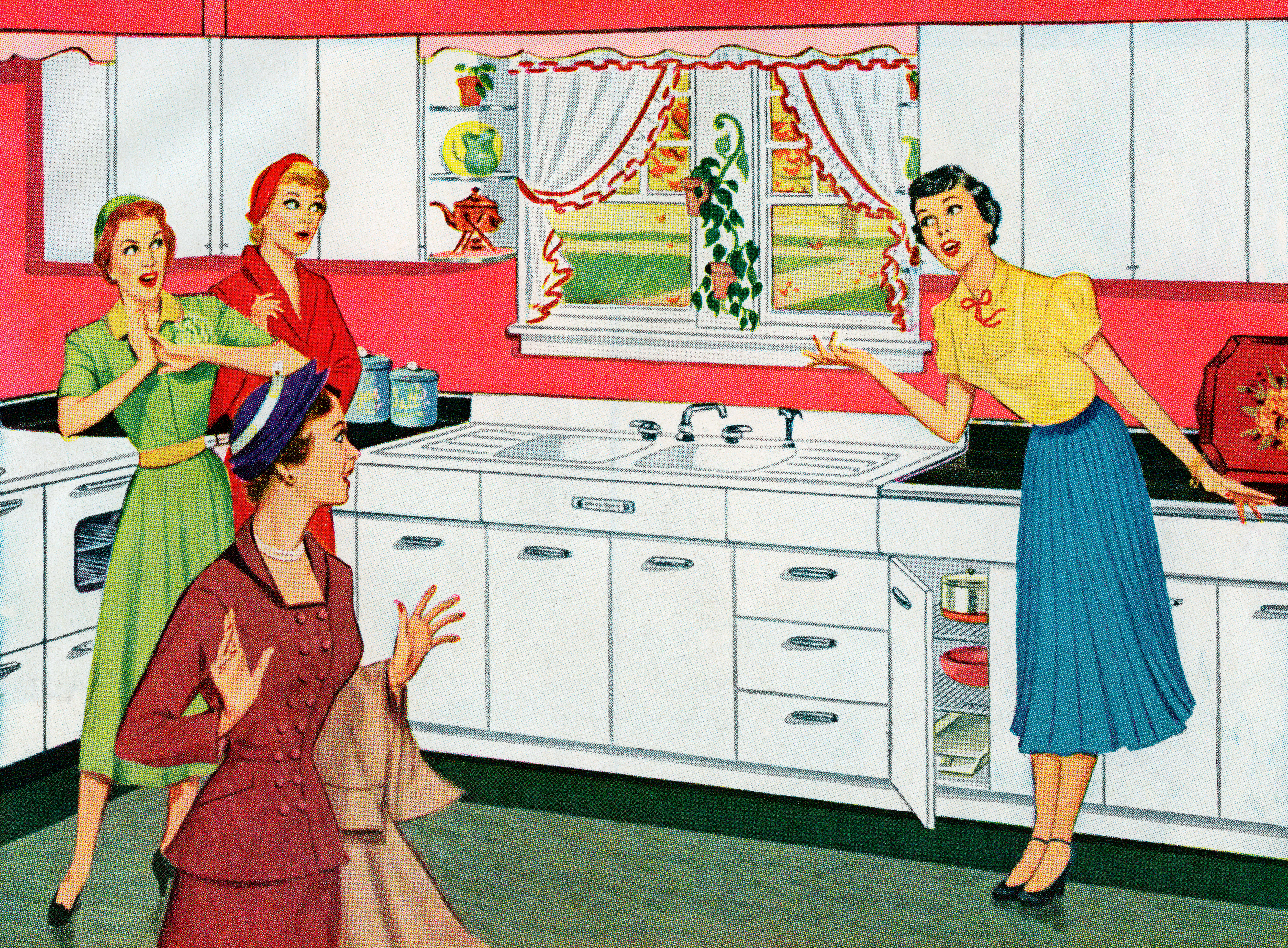 Vintage illustration of a housewife, showing off her brand new kitchen to her neighbor friends, 1950.