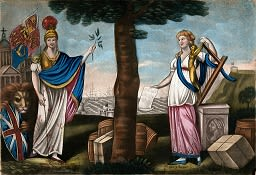 This image shows two women standing under a tree exchanging an olive branch and music.