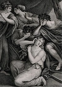 The mezzotint illustrates Achilles mourning the death of Patroclus.