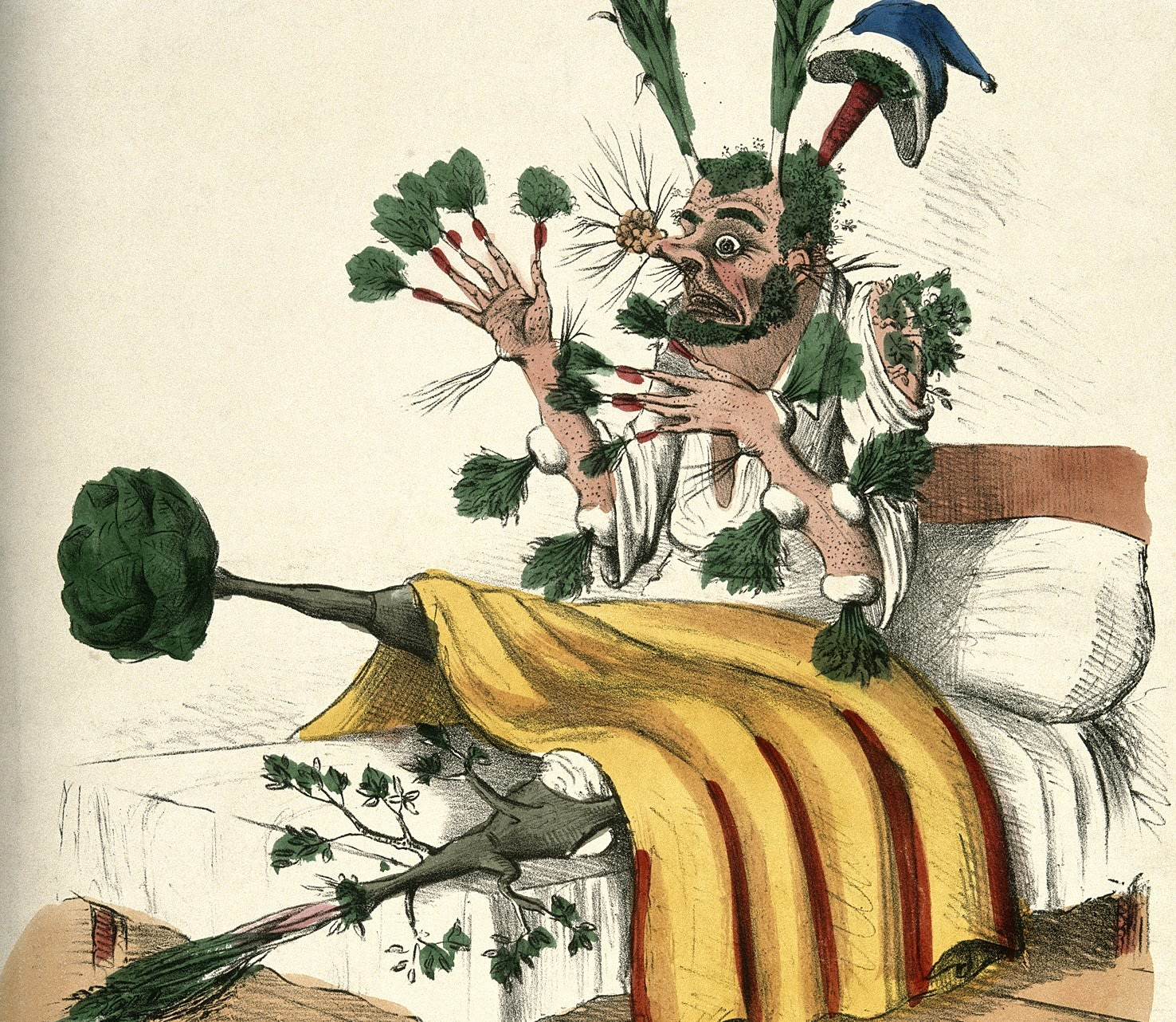 Image showing a man in bed with vegetables sprouting from all parts of his body.