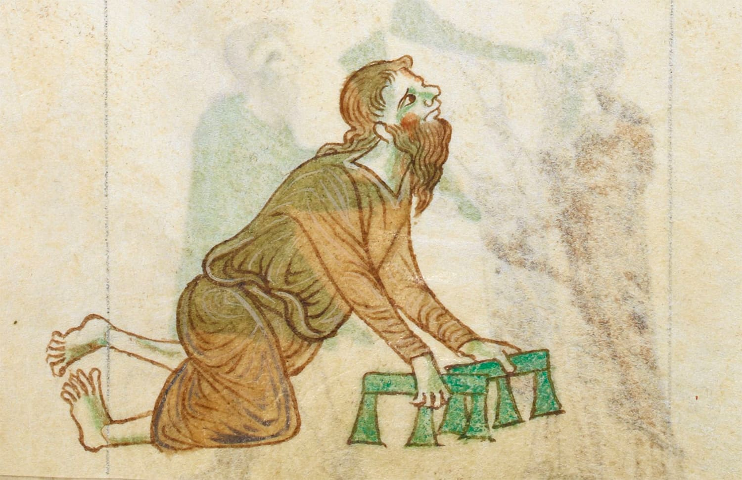This picture shows a crippled man in the margins of The History and Topography of Ireland by Gerald of Wales.