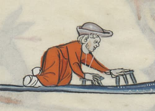This image a double-amputee in the margins of the Romans Arthurien.