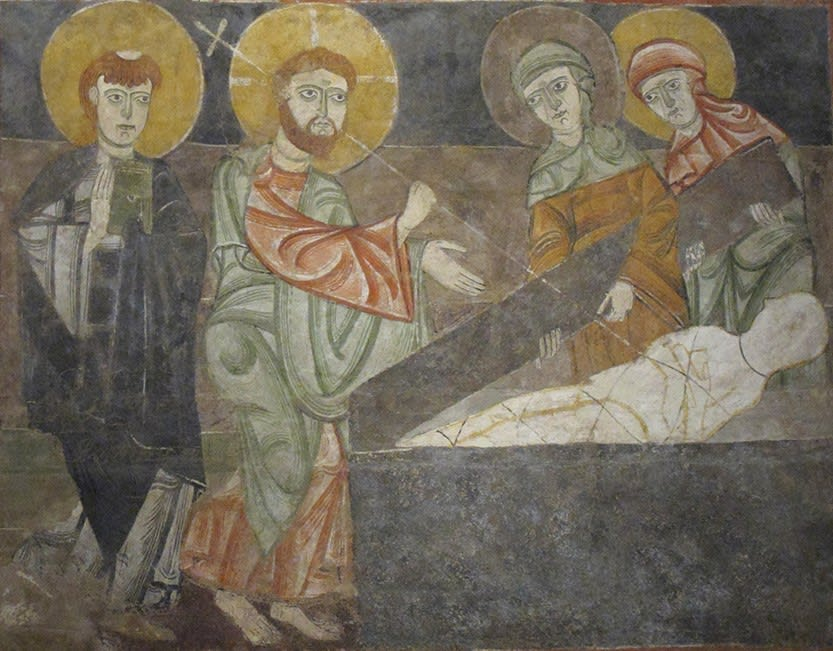 Picture showing the healing of the blind man and raising of Lazarus