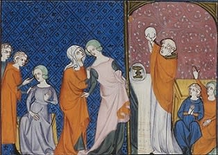 This is an image showing a blind spinner, led by her sister to the shrine of Louis IX