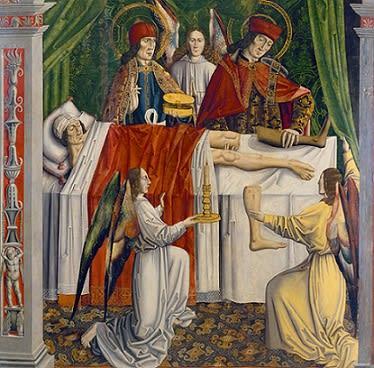 Image showing Saints Cosmas and Damian perform a miraculous transplantation of a leg.